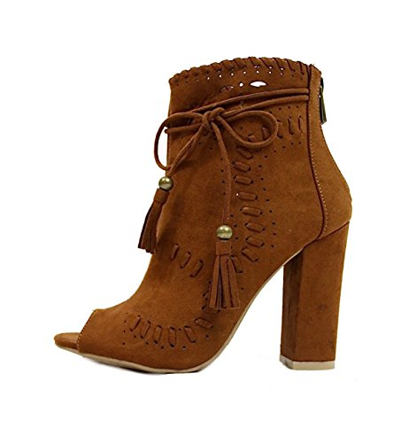 Open Toe Perforated Tassel Dress Chunky Heel Bootie Womens Boots Chestnut I010qC1fX