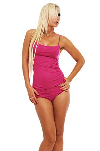 Mujer para espaguetis de Top, camiseta con tirantes de, micromodal con elastano de schöller, en el color Cassis, tamaños 38–�?0 cassis