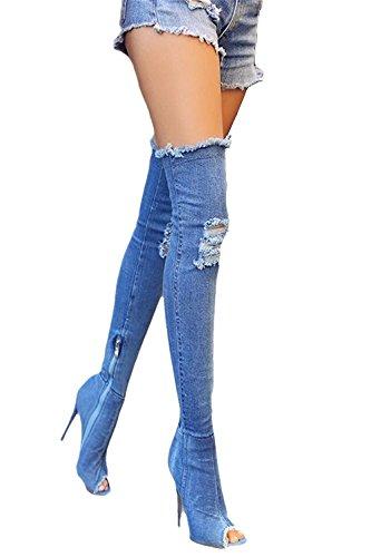 a083f6cc28b312 Dellytop Frauen lange Oberschenkel hoch über Knie offene Zehe Stiletto Heel  Denim Boots Blau