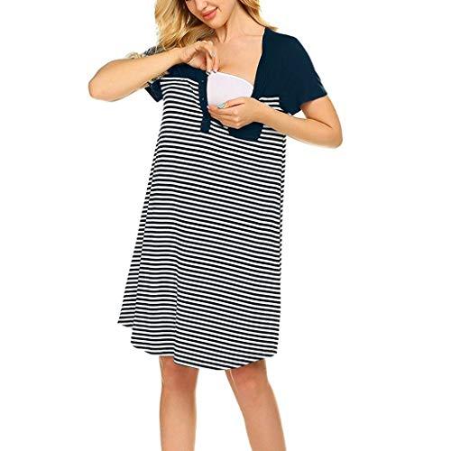 Sherostore ♡ Nursing Sleep Shirt Women Short Sleeve Striped Sleepwear Button Down Nightshirt Breastfeeding with Pocket Navy ()