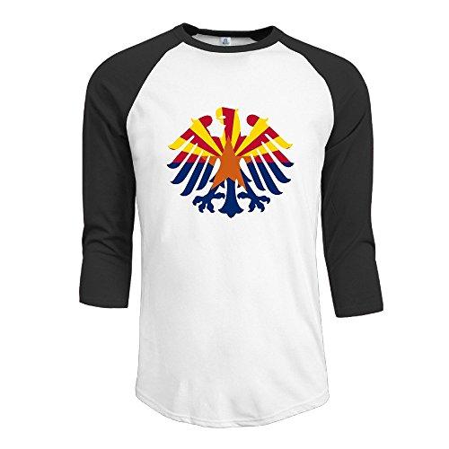 LQYG Men's Three Quarter Sleeve T Shirts - Flag Of Arizona Black XXL