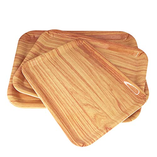 - GWPP Melamine Plastic Rectangular Serving Tray, Set of 3 assorted sizes. for indoor Restaurant or Outdor Picnic and Camping. (Wood grain) T9335