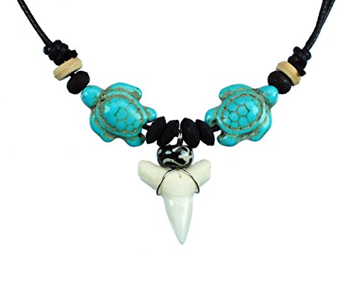 - exoticdream Sea Turtle Shark Tooth Necklace Handmade Hawaiian Style Beach Boy Men (TURQUIOSE II)