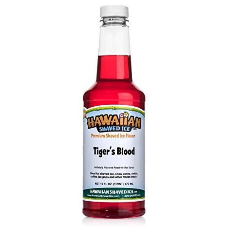 Hawaiian Shaved Ice Tiger's Blood Snow Cone Syrup, 1 -