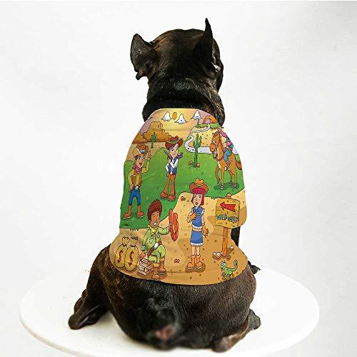 YOLIYANA Cartoon Cute Pet Suit,Child Cowboy Cute Wild West Cartoon North America Culture Kids Decor for Small Medium Large Size Dogs Cats,S ()