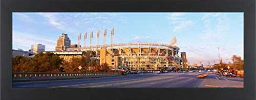 Easy Art Prints Panoramic Images's 'Facade of a Baseball Stadium, Jacobs Field, Cleveland, Ohio, USA' Premium Framed Canvas Art - 30