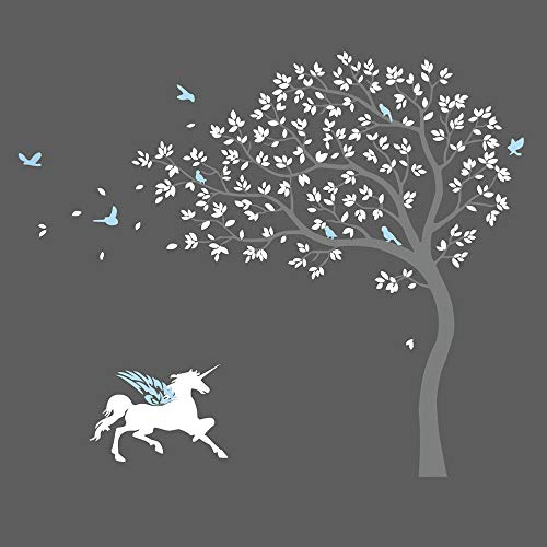 Cheap  decalmile Unicorn and Cherry Blossoms Tree Wall Stickers Peel and Stick Wall..