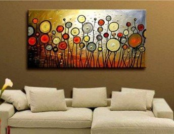 Modern wall decor abstract large art oil painting on canvas artwork 24x48 framed