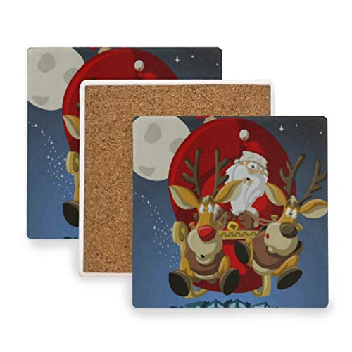 Christmas Santa Claus Elk Coasters, Prevent Furniture from Dirty and Scratched, Square Cork Coasters Set Suitable for Kinds of Mugs and Cups, Living Room Decorations Gift Set of 2