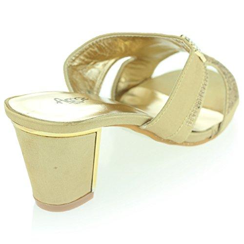 de Sandalias Tamaño Diamante Ponerse Oro Boda Casual Mujer Detalle Noche Fiesta Bloque Broche Señoras Tacón Zapatos wqx64Y7