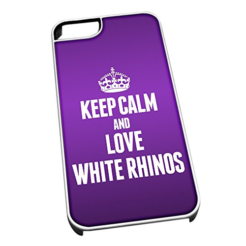Bianco cover per iPhone 5/5S 2502 viola Keep Calm and Love White Rhinos