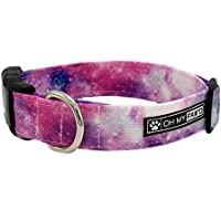 Pink Galaxy Print Collar for Pets Size Large 1 Inch and Wide 17-25 Inches Long - Hand Made Dog Collar by Oh My Paw'd