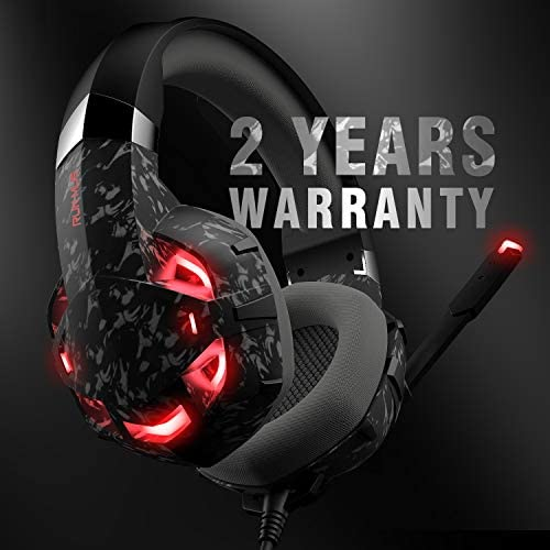 RUNMUS Gaming Headset Xbox One Headset with 7.1 Surround Sound Stereo, PS4 Headset with Noise Canceling Mic & LED Light, Compatible with PC, PS4, Xbox One Controller(Grey)