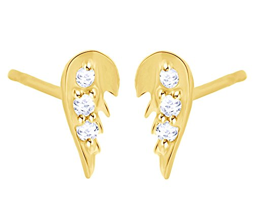 White Natural Diamond Angel Wing Stud Earrings in 14K Solid Yellow Gold by Wishrocks