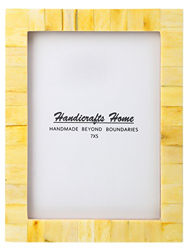 New Real Handmade Black White Bone Photo Picture Vintage Imported Chic Frame Made to Display 5x7 Pictures, Yellow - Thanksgiving Gifts