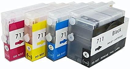 1 Cartuchos de tinta vacíos recargables para HP 711, HP711 cartucho de tinta con Arc para impresoras HP DesignJet T520 T120: Amazon.es: Oficina y papelería