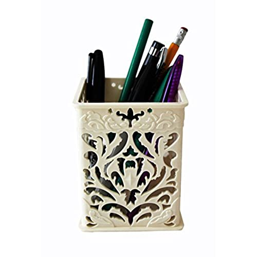 Superieur Pen Stand, Multi Functional Container, Desk Organizer (Cream)