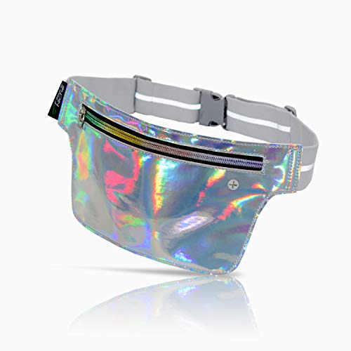 Holographic Ultra Slim Fanny Pack, Hologram Metallic Neon Waist Bag, Multiple Inner Pockets, Water Resistant, Reflective Adjustable Elastic Belt, 80s Bum Bag for Rave, Festival, Travel, Party