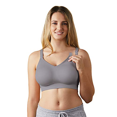 BRAVADO DESIGNS Women's Body Silk Seamless Nursing Bra and Maternity Bra, Silver Belle, Medium