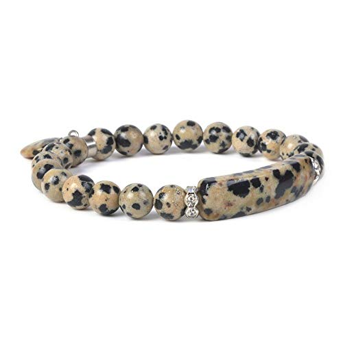 Natural Dalmatian Jasper Gem Semi Precious Gemstone Love Heart Charm Stretch Bracelet ()