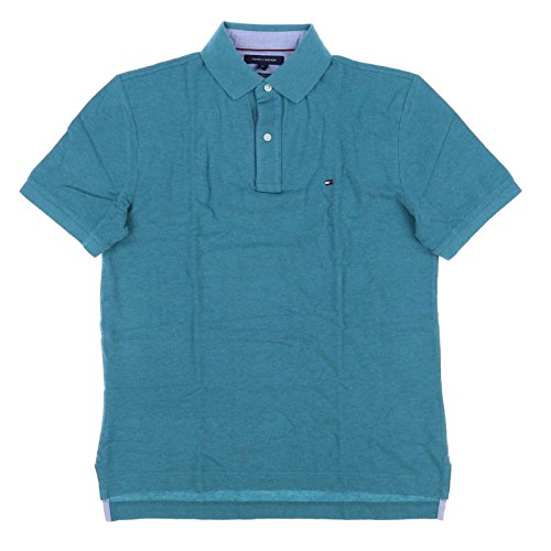 - Tommy Hilfiger Mens Mesh Classic Fit Polo Shirt (Small, Teal)