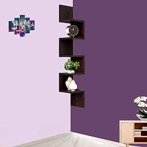 Furniture Cafe ® Zig Zag Floating Wall Mount Corner Shelf Wooden Display Shelves Storage Organizer ( Brown with Walnut…