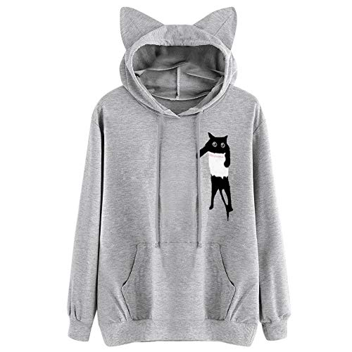 Cuff Flutter (Womens Tops Sale,KIKOY Girls Cat Hooded Long Sleeve Sweatshirt Casual Pullover)