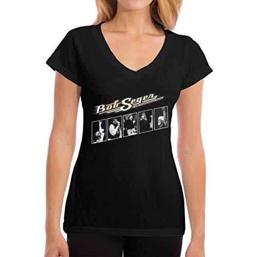Bob Seger The Silver Bullet Band T Shirts Womens Short Sleeve V Neck Tees Casual Blouse Tops M ()
