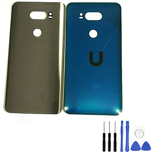 Back Battery Cover for LG V30 - Rear Panel Silver Glass Battery Housing Door Cover Back Case Replacement Parts for LG V30 VS996 with Opening Tool (Fit for Verizon