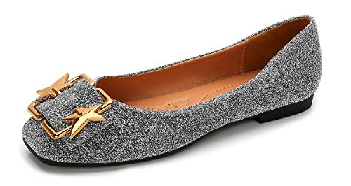 (Women's Slip-On Ballet Flats Comfy Cute Square Toe Shoes, Glitter Silver Comfortable Soft Breathable Lining Shiny Rhinestone Anti-Slip Rubber Sole Padded Arch Support Insole Low Top Cushioned Loafers)