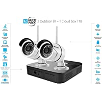 Vimtag Surveillance Outdoor Kit - 2 B1 Outdoor Camera, 1TB Cloud Storage Box | Plug/Play Wireless Security Solution