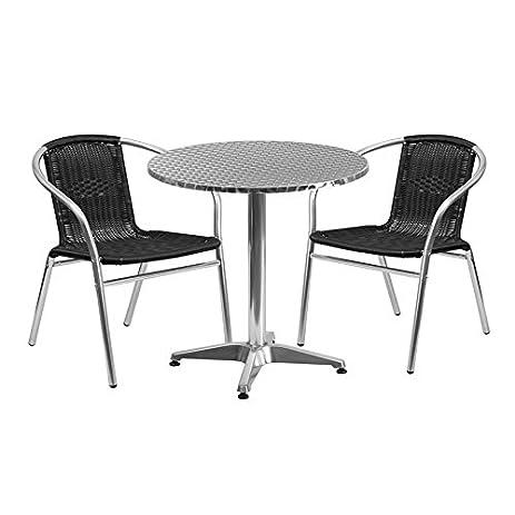 27.5u0027u0027 Round Aluminum Indoor Outdoor Restaurant Table Set With 2 Black  Rattan Chairs