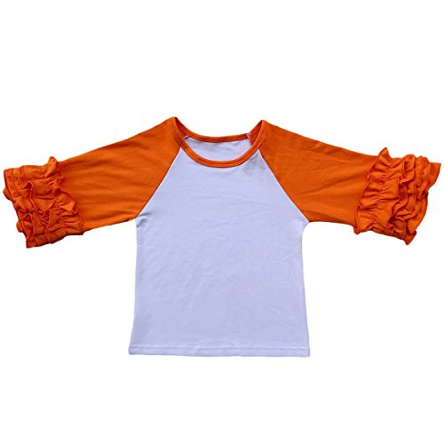Toddler Girls Icing Ruffle Shirts Kids Raglan T Shirts Baseball 3/4 Sleeves Baby Cotton Tee Tops Little Big Sisters Family Matching Crew Neck T-Shirt Birthday Casual School Clothes Orange 5-6Y