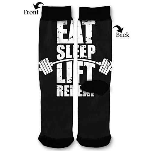 Eat Sleep Lift Gym Men & Women Casual Cool Cute Crazy Funny Athletic Sport Colorful Fancy Novelty Graphic Crew Tube ()