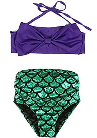 Amazon.com: Girls Two-Piece Bow-Knot Mermaid Bikini