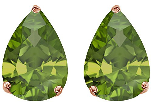 (Simulated Green Peridot Pear Shape Stud Earrings In 14K Rose Gold Over Sterling Silver (1 Ct))