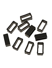 10Pcs Black Rubber Replacement Keeper Loops Watch Band Strap End Holder 18mm