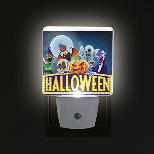 ALIREA Halloween Charaters Plug in LED Night Light Auto Sensor Dusk to Dawn Decorative Night for Bedroom, Bathroom, Kitchen, Hallway, Stairs,Hallway,Baby's Room, Energy (Halloween Charaters)