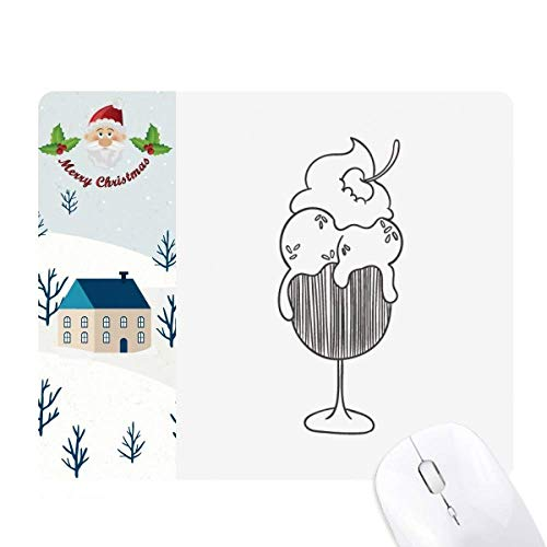 Black Outline Cherry Goblet Ice Cream Santa Claus House Mouse Pad Gift
