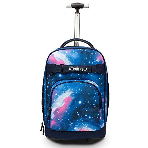 - WEISHENGDA 18 inches Wheeled Rolling Backpack for Adults and College Books Travel Bag, Blue Sky