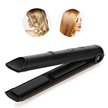 2In1 Ceramic Hair Curling Iron/Straightener, Portable Travel Cordless Rechargeable Hair Straightening Ironing Styling Tool (Black)