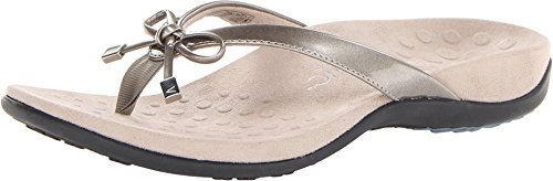 Vionic Women's Rest Bella II Toepost Sandal - Ladies Flip Flop with Concealed Orthotic Arch Support Pewter 6 W US