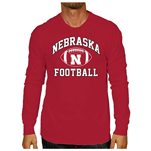 Elite Fan Shop Nebraska Cornhuskers Long Sleeve Tshirt Red Football - L ()