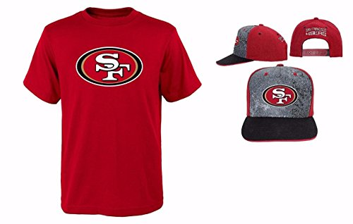 San Francisco 49ers NFL Youth Size Performance T-shirt With Cap Set (Youth Medium 10/12)