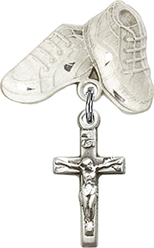 Sterling Silver Baby Badge Baby Boots Pin with Crucifix Charm, 3/4 Inch