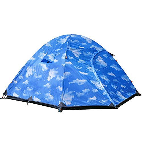 QNDYDB Dome Outdoor Camping Hand with Aluminum Pole Tent 3-4 People Outdoor Climbing Double Door Tent