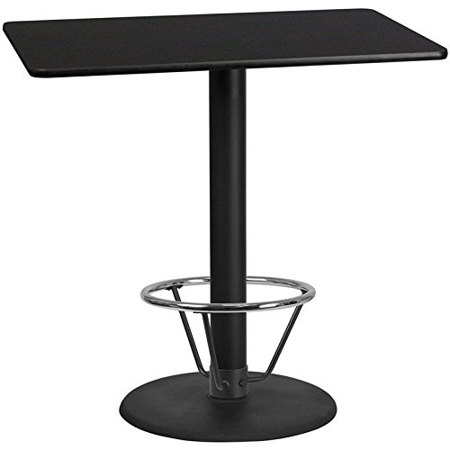 30'' x 48'' Restaurant Bar Height Table with Black Laminate Top and Foot Ring