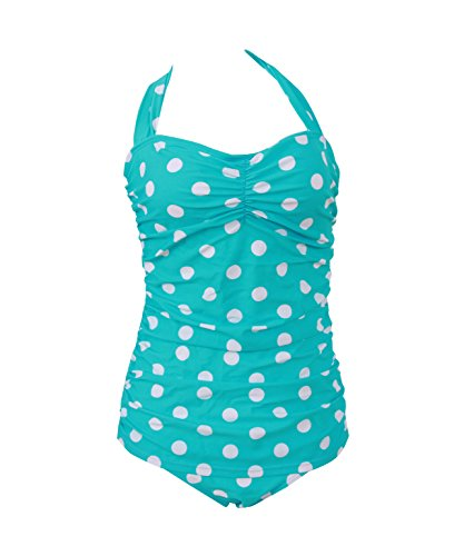 HaiCoo Plus Size Polka Dot Halter Womans Swimwear Summer Beach Swimsuits OPD 21, M(US 4 6), Light Blue With White Dots