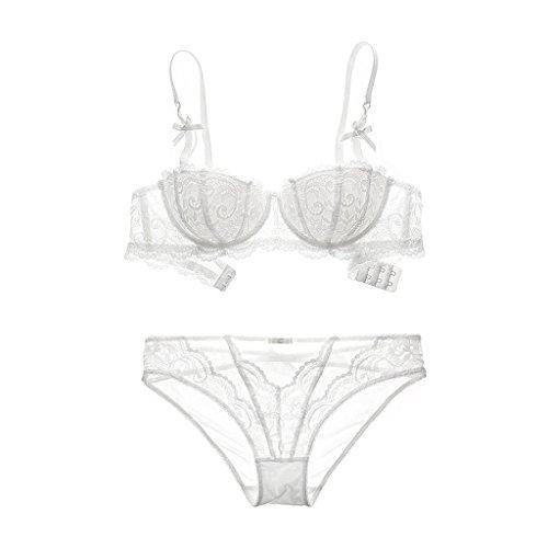 Laixing 4Colors Women Lace Underwear Push Up Bra Sets & Panty 70/75/80/85/ A B C D White