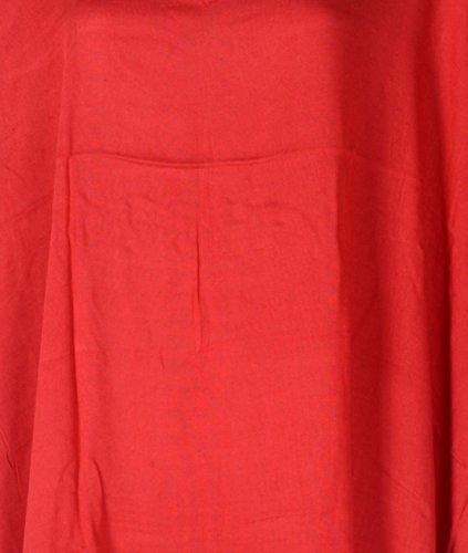 Tropicalsale Women's Plus Size Vermillion Simple Plain Caftan Tunic Hippy Top